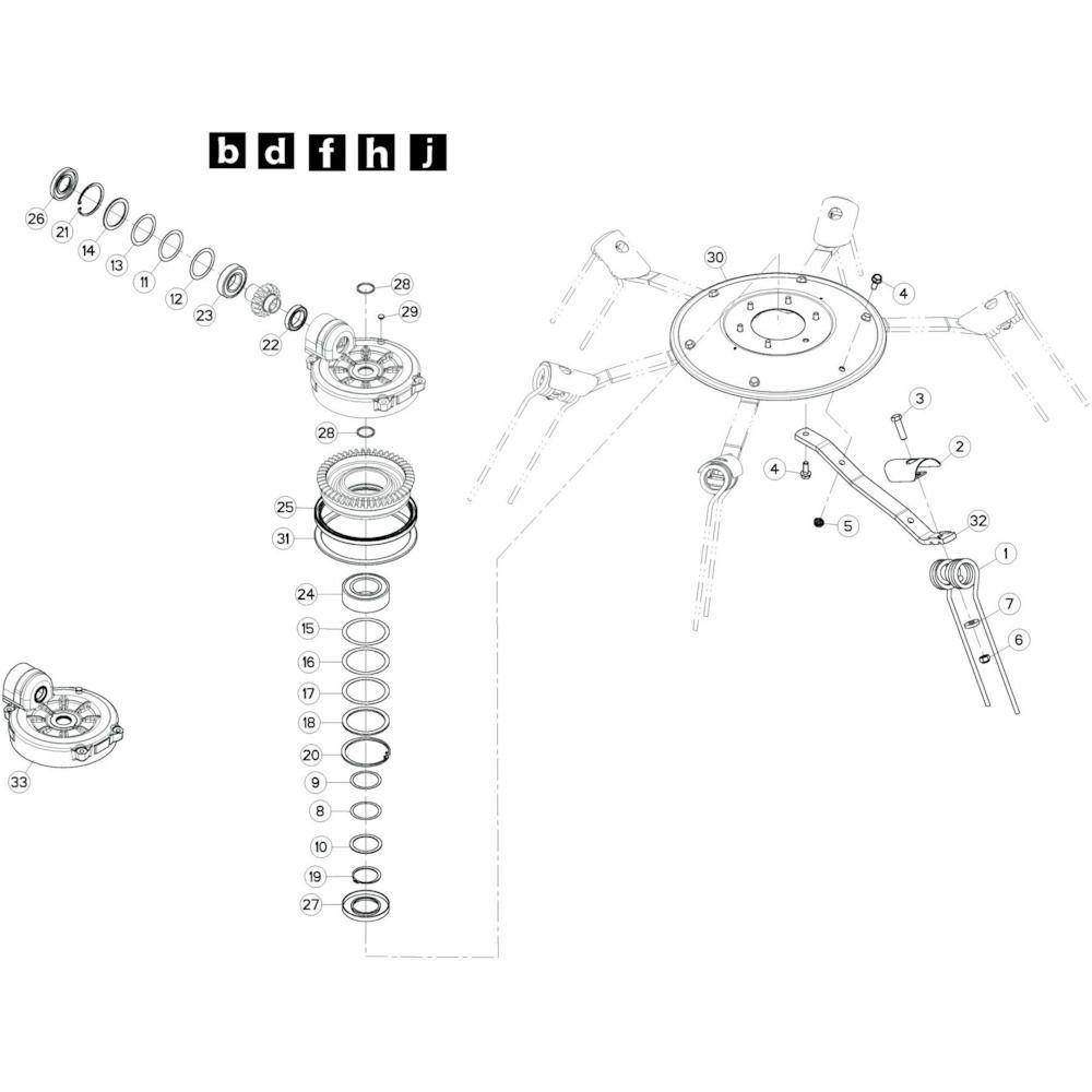 39 Rotor, links 2 passend voor KUHN GF10802TGII
