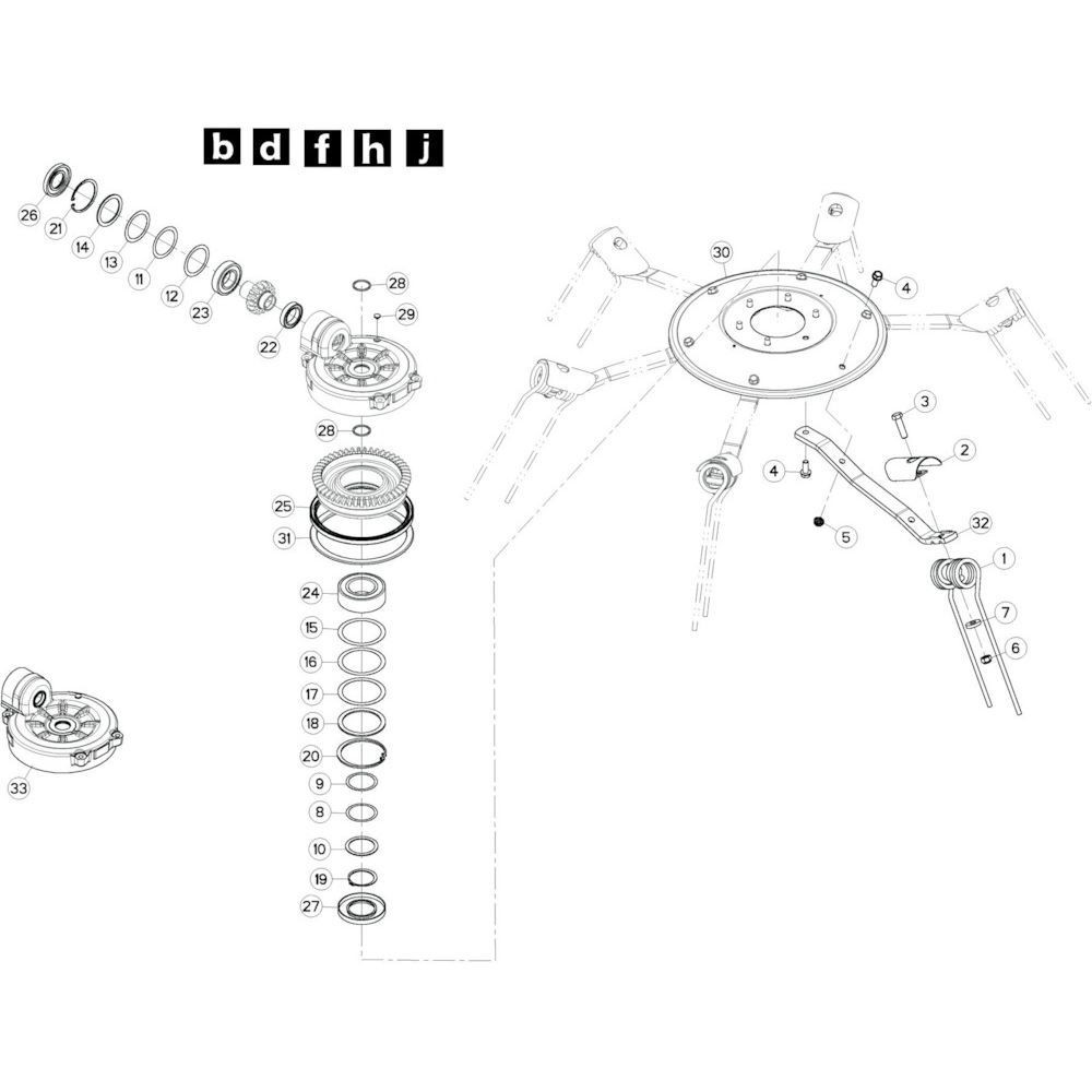 40 Rotor, links 3 passend voor KUHN GF10802TGII