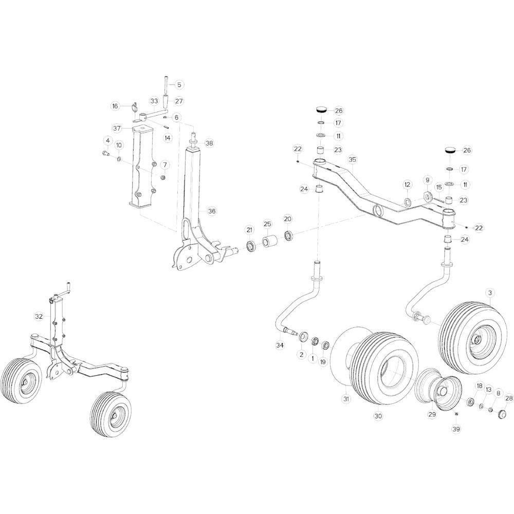 68 Cardanwiel, zwaaiarm 2 passend voor KUHN GF10802TGII