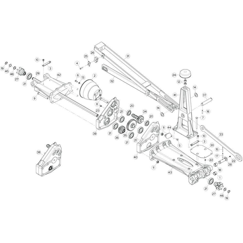 10 Tussenwing 1, rechts passend voor KUHN GF13002