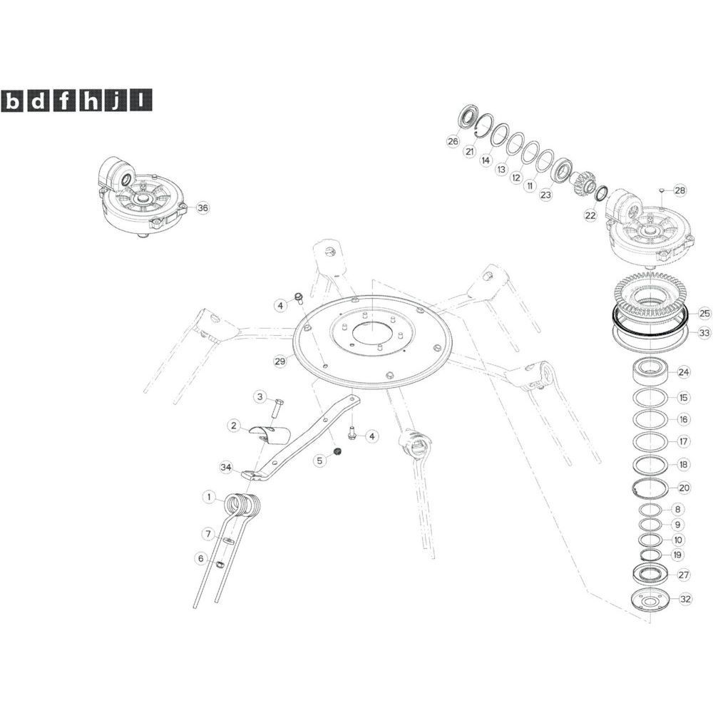 25 Rotor, links passend voor KUHN GF13002