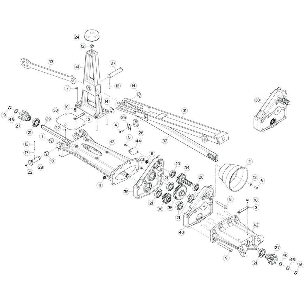 13 Tussenwing 1, links passend voor KUHN GF13002