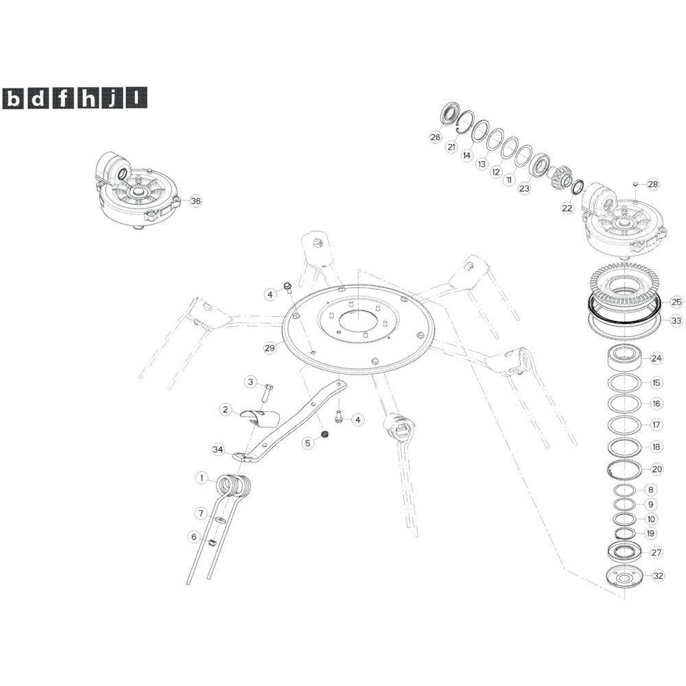 30 Rotor, links passend voor KUHN GF13002