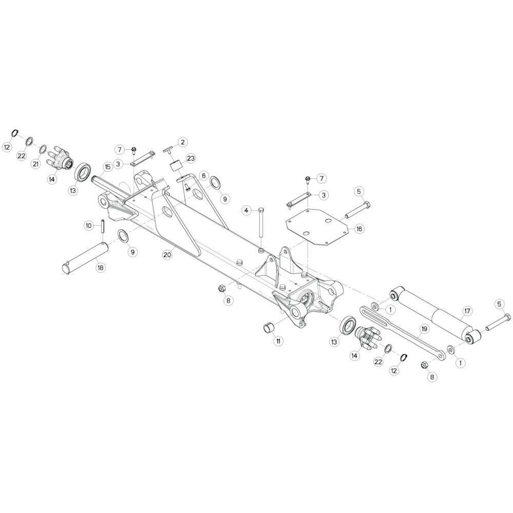 22 Tussenwing 3, rechts passend voor KUHN GF13002