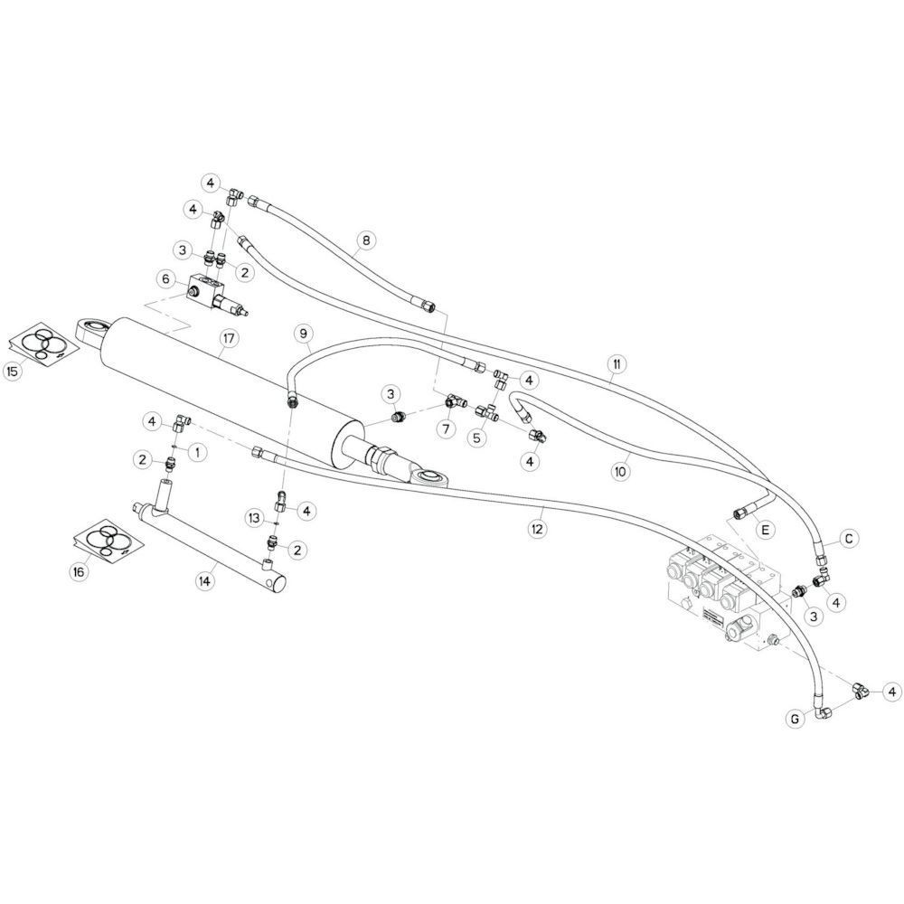 45 Hydrauliekslangen, links 3 passend voor KUHN GF13002