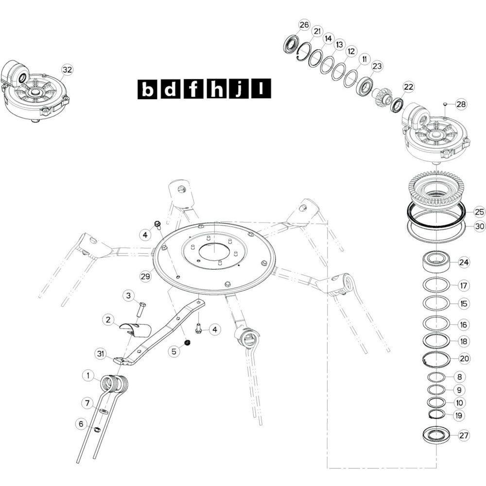 50 Rotor, links 2 passend voor KUHN GF13002