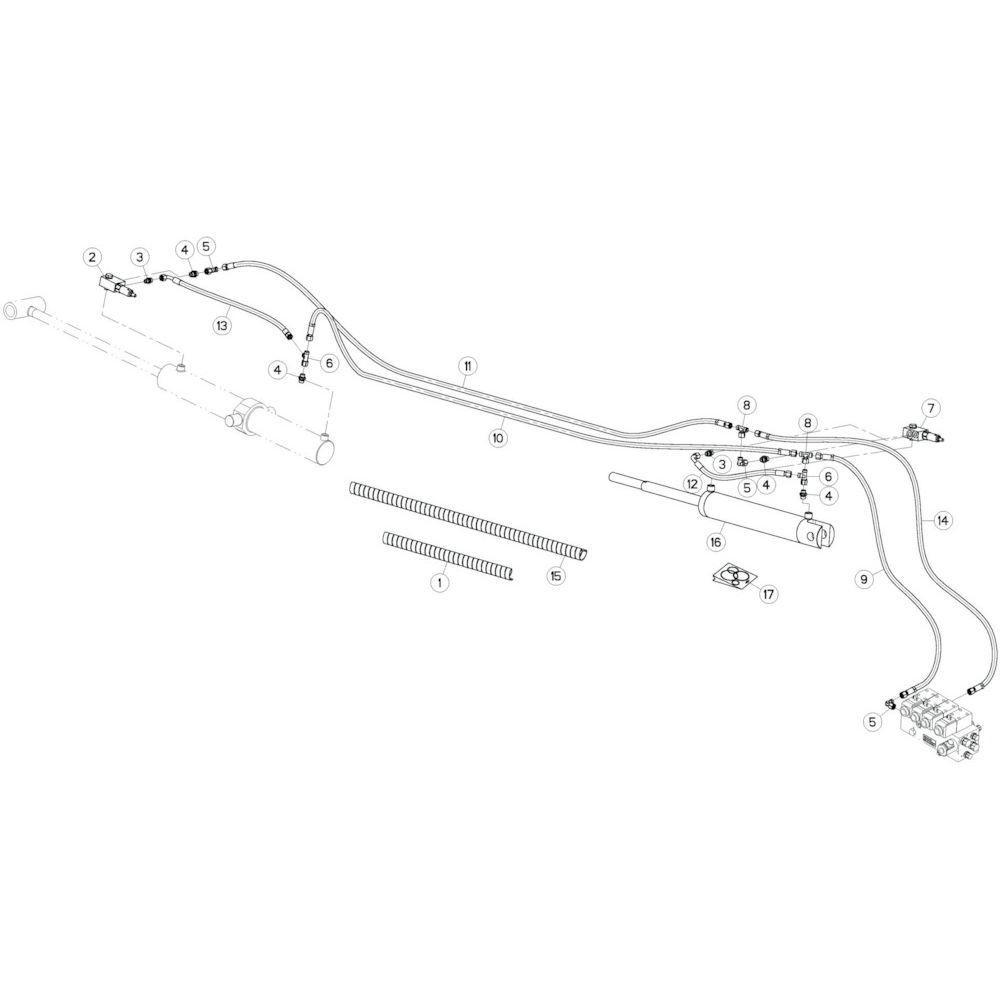 23 Hydrauliekslangen, links 1 passend voor KUHN GF13012