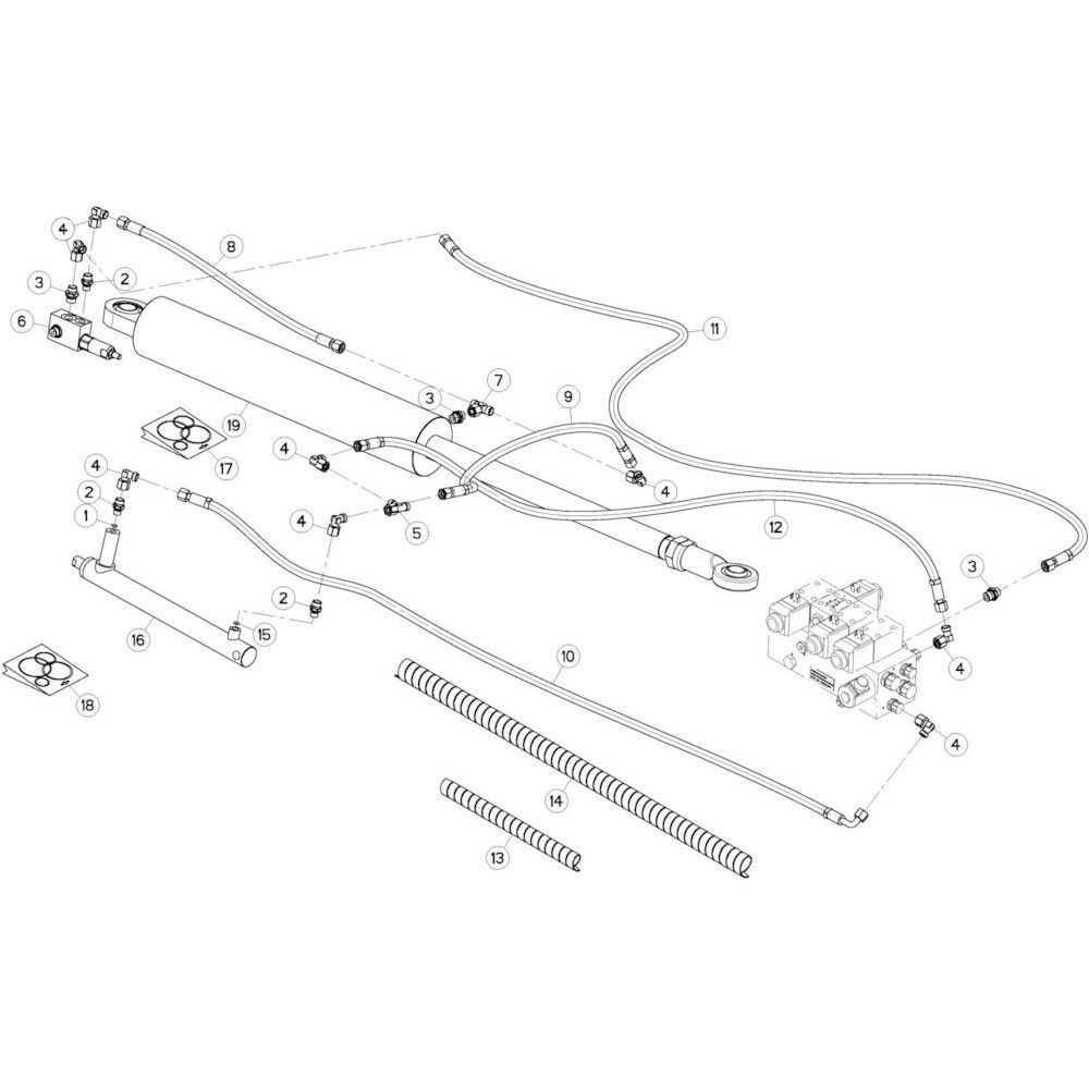 24 Hydrauliekslangen, links 2 passend voor KUHN GF13012