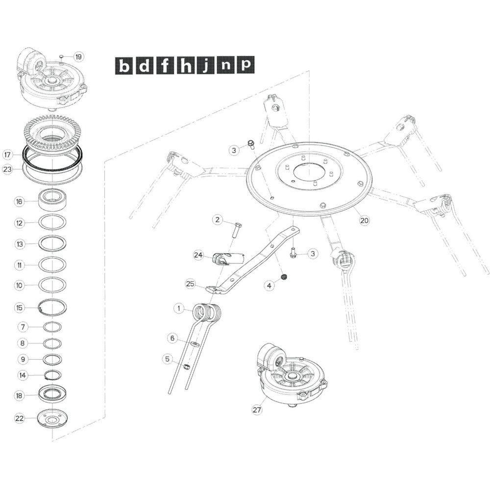 26 Rotor, links passend voor KUHN GF17002