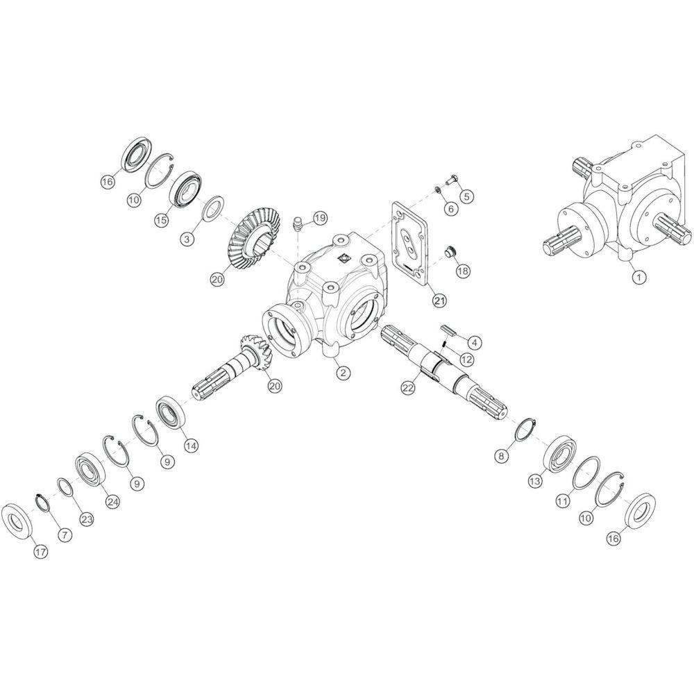 08 Conische tandwielkast passend voor KUHN GF17002