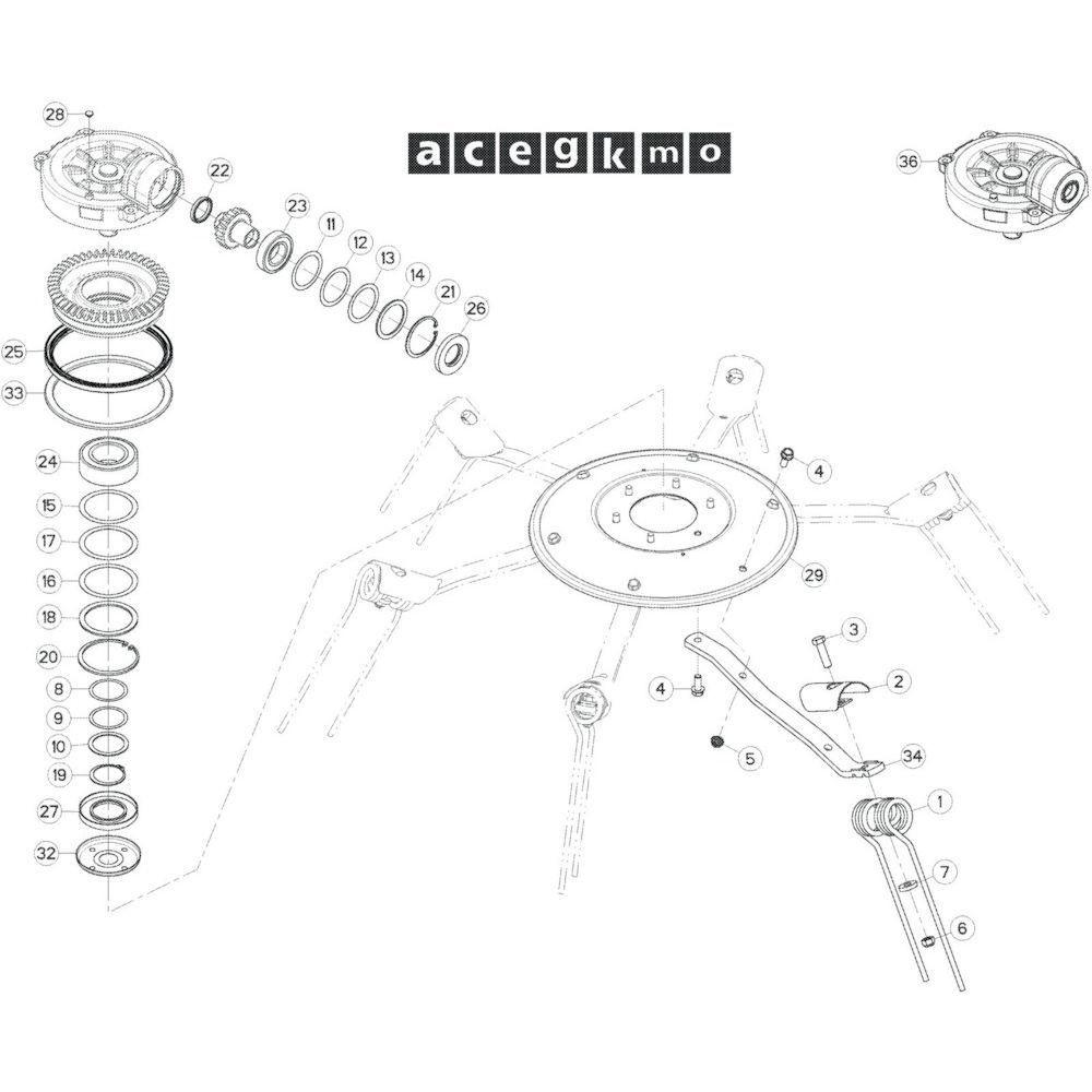 31 Rotor, rechts passend voor KUHN GF17002