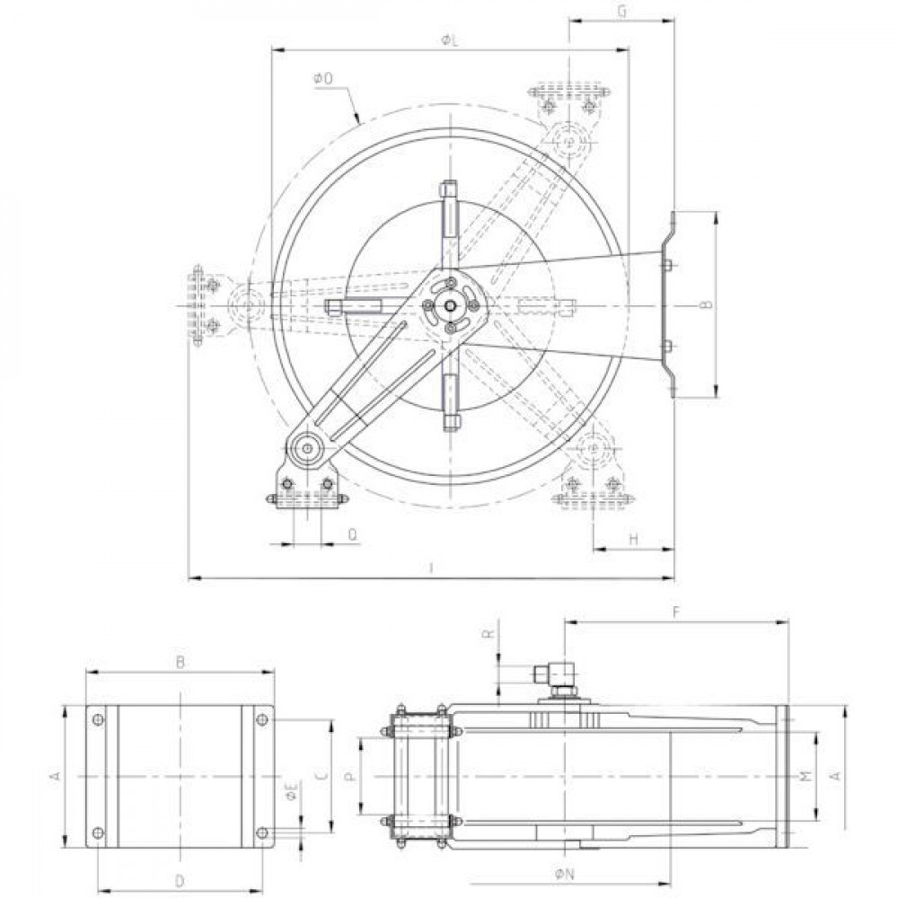 "Ramex Autom. slanghaspel RVS - HD3503 | Zelfoprollend | Slang niet meegeleverd | 80 bar | 90 °C | RVS AISI 304 | Buitendraad 1"" in | 390 mm | 295 mm | 280 mm | 263 mm | 315 mm | 120 mm | 107 mm | 700 mm | 540 mm | 295 mm | 310 mm | 580 mm | 250 mm | 1 Inch"