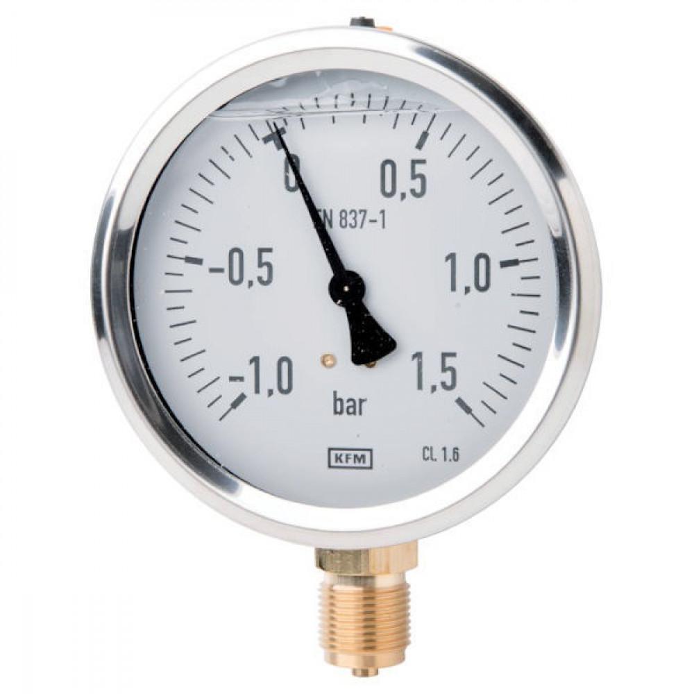 WIKA Manometer 100 mm Glyc. - MA100115VAC   glycerine   M20 x 1.5   -1...+1.5 bar bar   0 60 °C   CrNi staal, gepolijst   100 mm