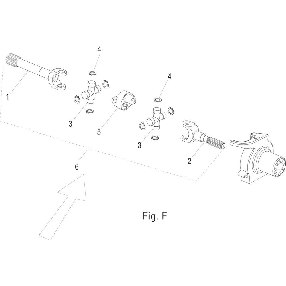 Massey Ferguson Vertande gaffel kort - 001025141 | L=154,5mm | Fig.F 2