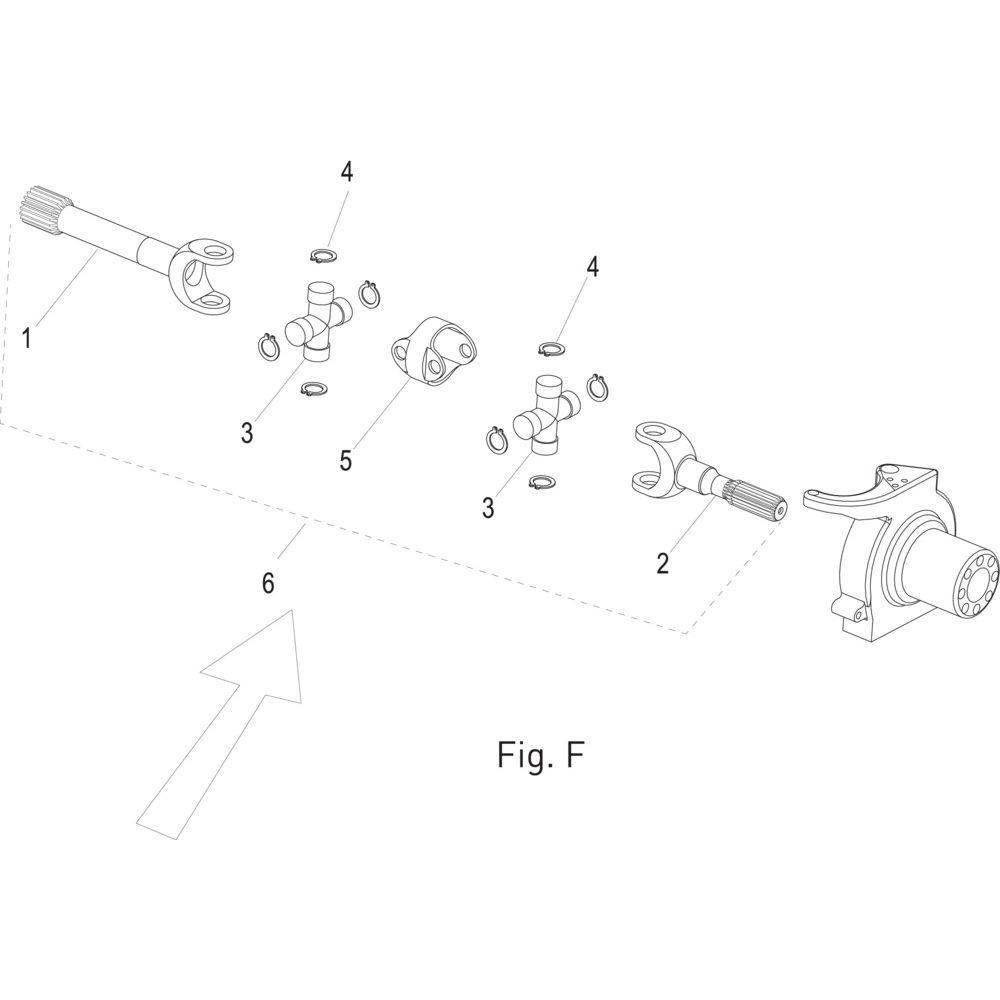 Massey Ferguson Vertande gaffel kort - 001035832   L=361mm   Fig.F 1