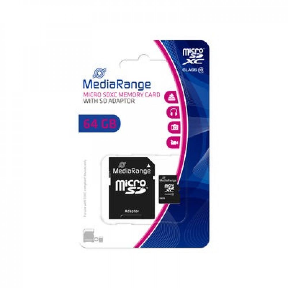 MediaRange, geheugenkaart, microSDXC, 64 GB, Class 10, incl. adapter