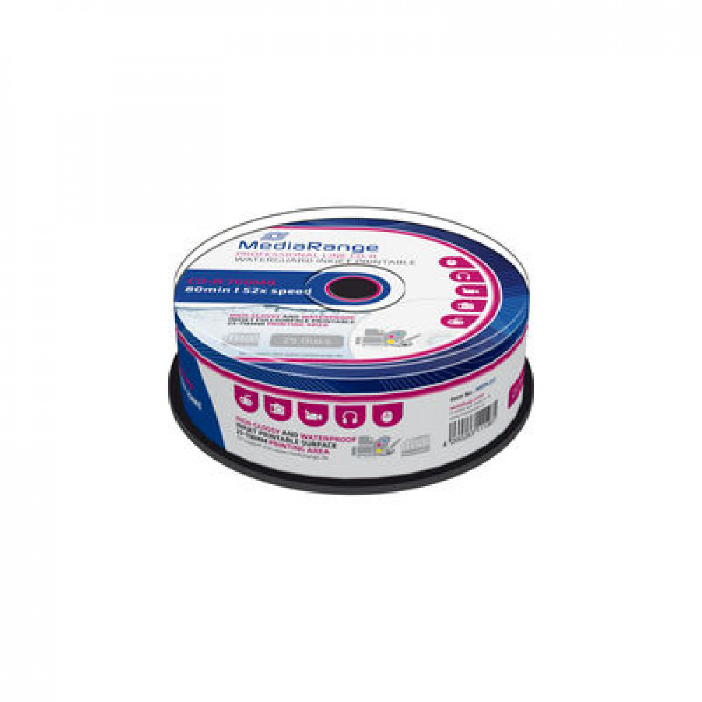 Mediarange printable, High-Glossy, CD-R schijven , 700MB / 80min, Waterguard disc-oppervlak ,25 stuks in cakebox verpakking