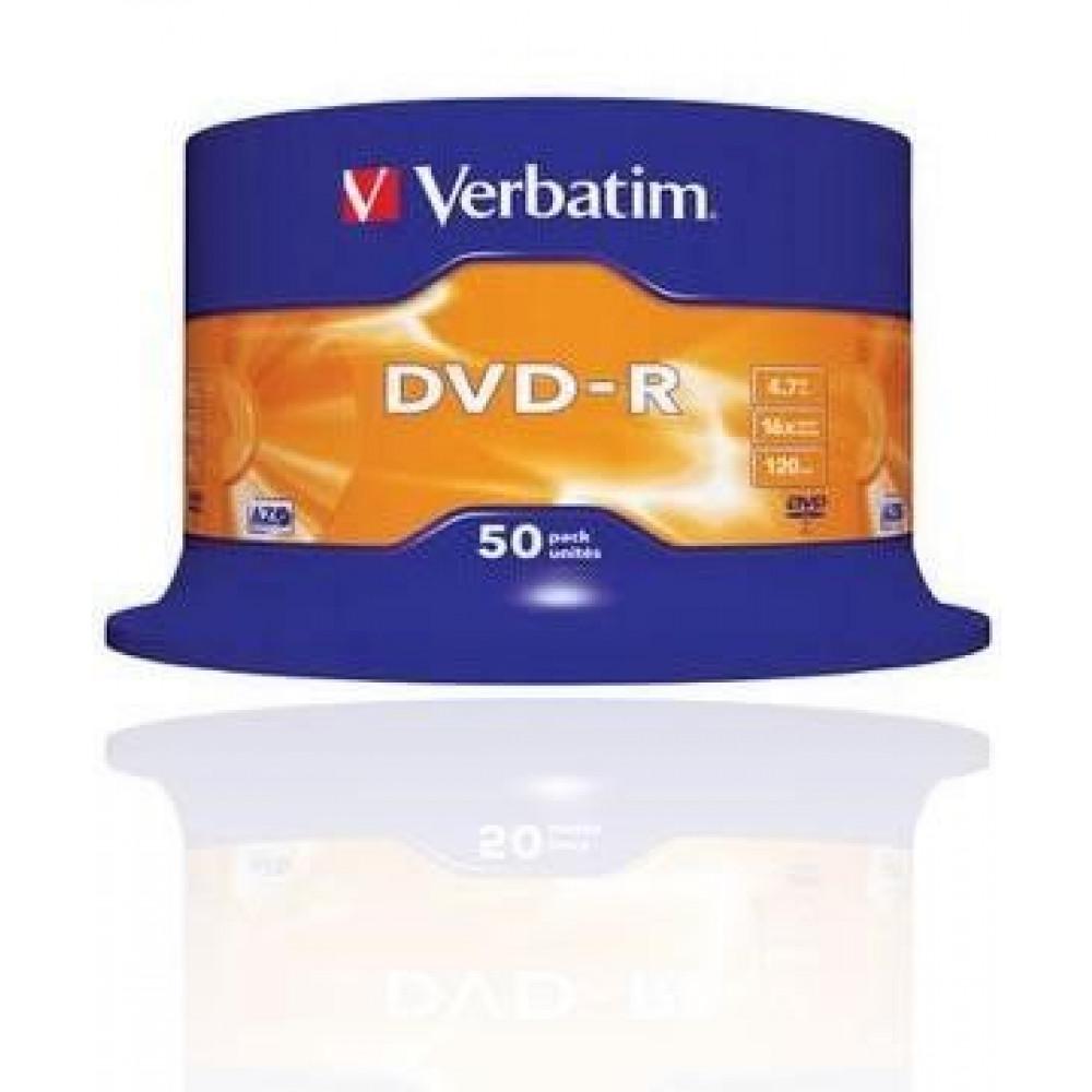 Verbatim DVD-R schijven, 4.7 Gb opslagruimte, snelheid 16x, 50 stuks, cakebox verpakking, zeer hoge kwaliteit!