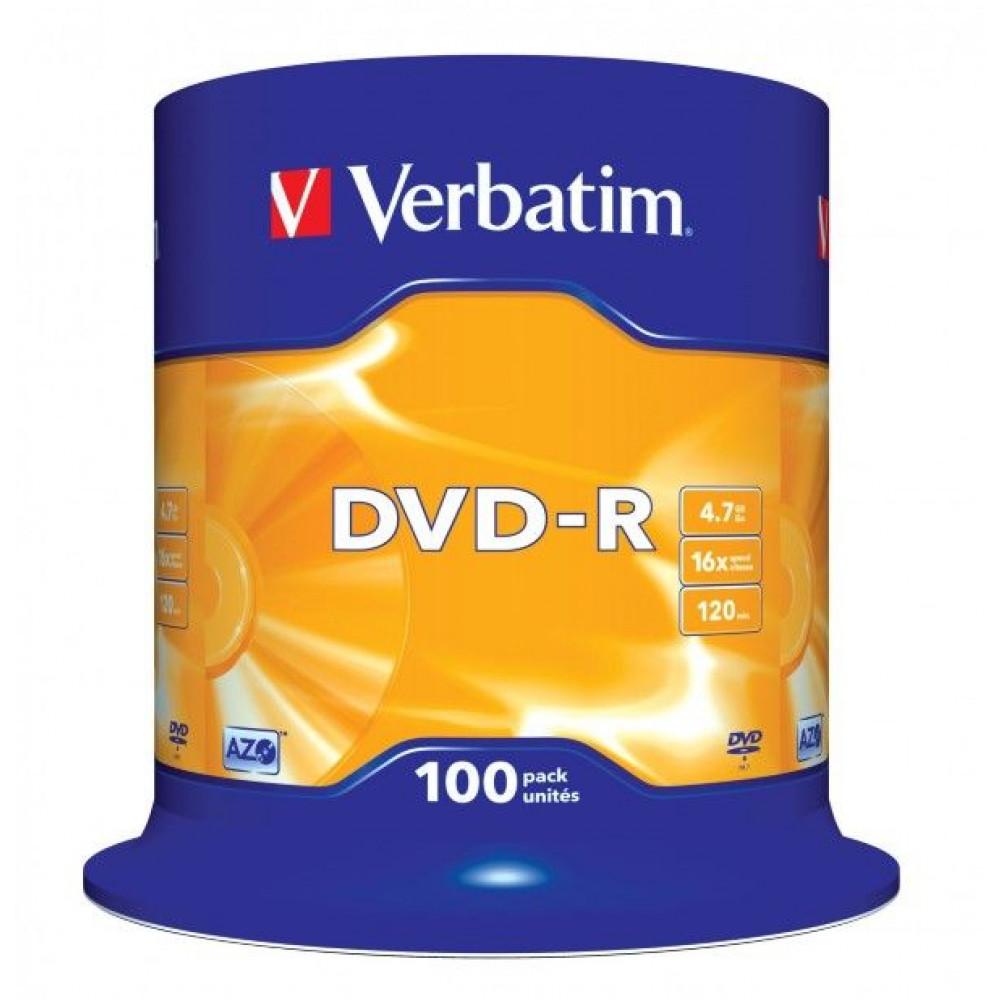 Verbatim DVD-R schijven, 4.7 Gb opslagruimte, snelheid 16x, 100 stuks, cakebox verpakking, zeer hoge kwaliteit!