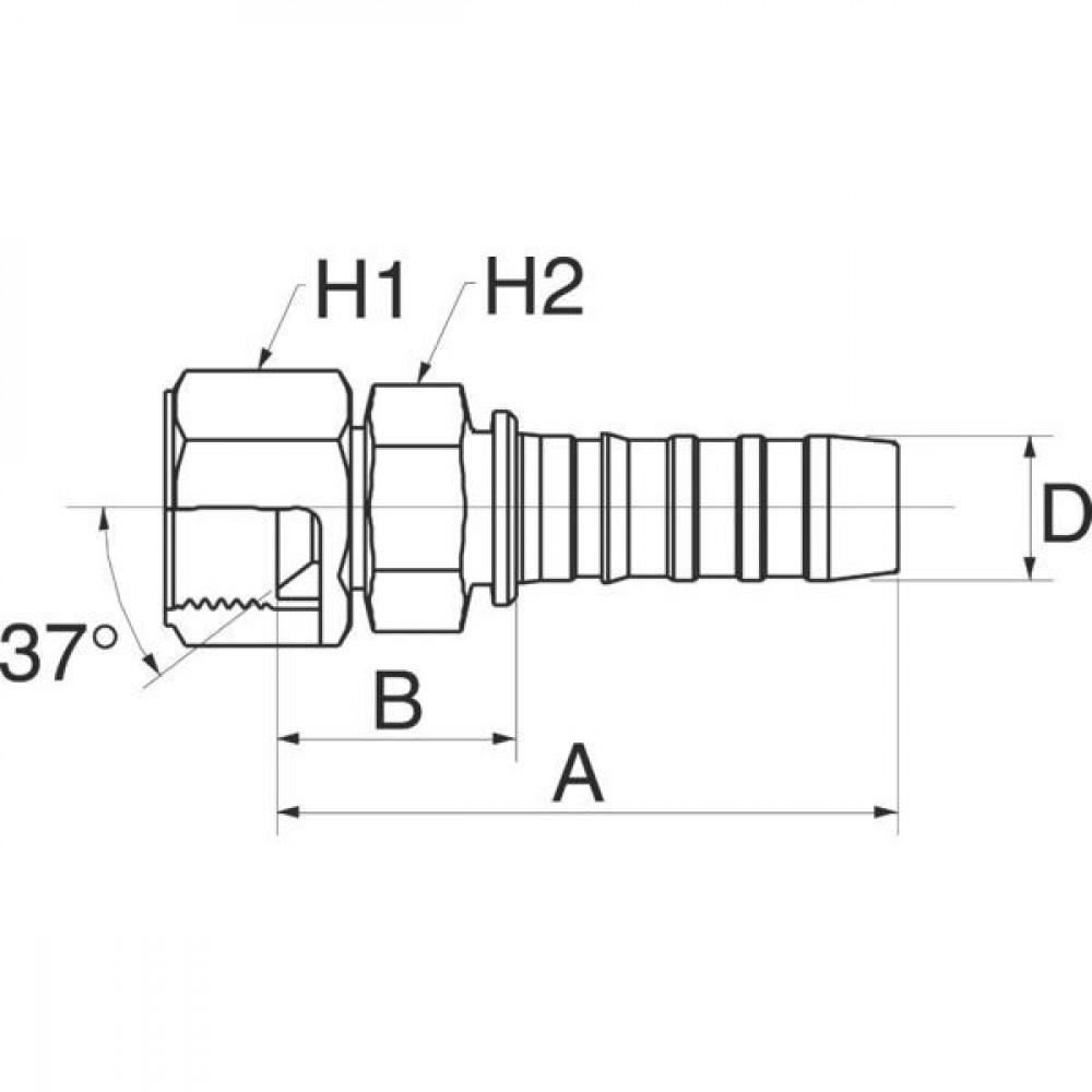 """Gates Pilaar DN25-1""""3/16JIC - 16GS14FJX   1"""" Inch   25 mm   107,9 mm   51,1 mm   38,1 mm   34,9 mm   1.3/16"""" 12 UN JIC   16GS14FJX"""