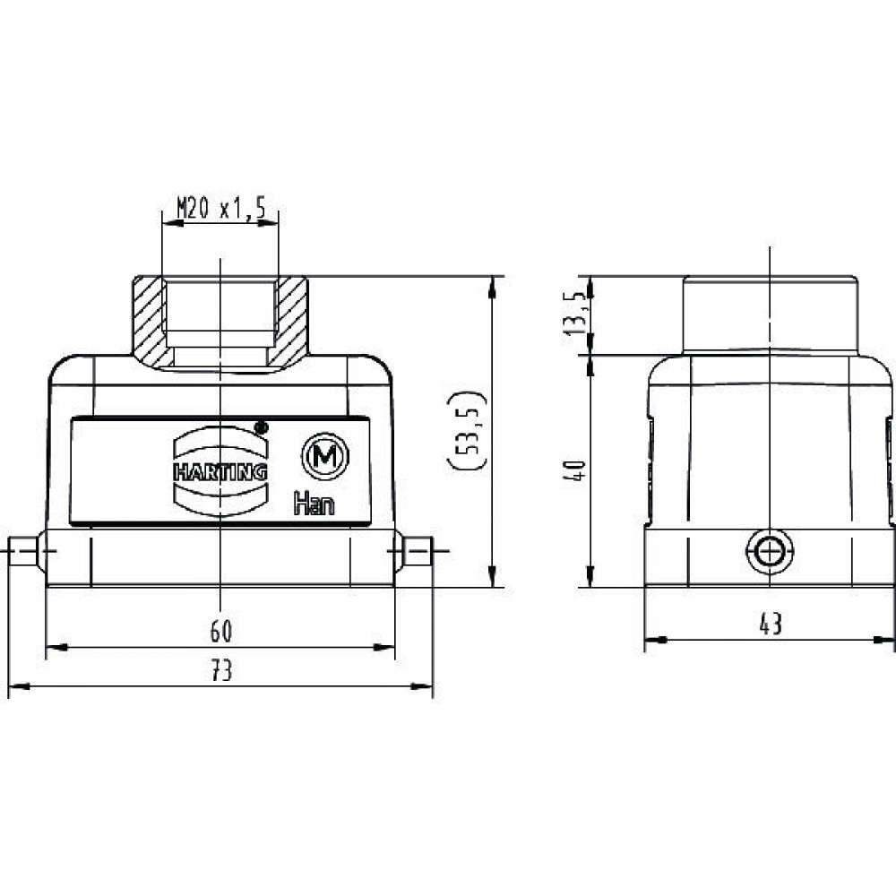Harting Huis 6B M20 boveninvoer - 19300061440   Lage bouwvorm   Han® B   2 nokken   M 20 x 1,5   IP65 IP   Aluminium   6-13 mm   60x43x40 mm