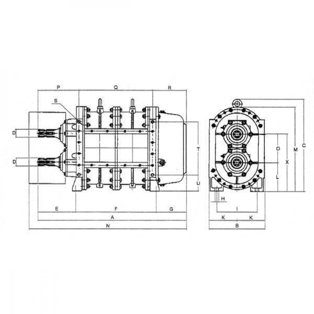 Battioni Pagani BR pomp 127 m³/h B.P. - BR120D | 613 mm op de tekening | BR 120 KIT | 260 mm | 429 mm | 176 mm | 296 mm | 2125 l/min | 141 mm | 139 kg | 190 mm | 128 mm | 655 mm | 10 bar | 157 mm | 252 mm | 130 mm | 399 mm | 136 mm | 192 mm | 264 mm | 264 mm | 540 Rpm omw/min | 39 kW max. druk | 1 3/8 Inch