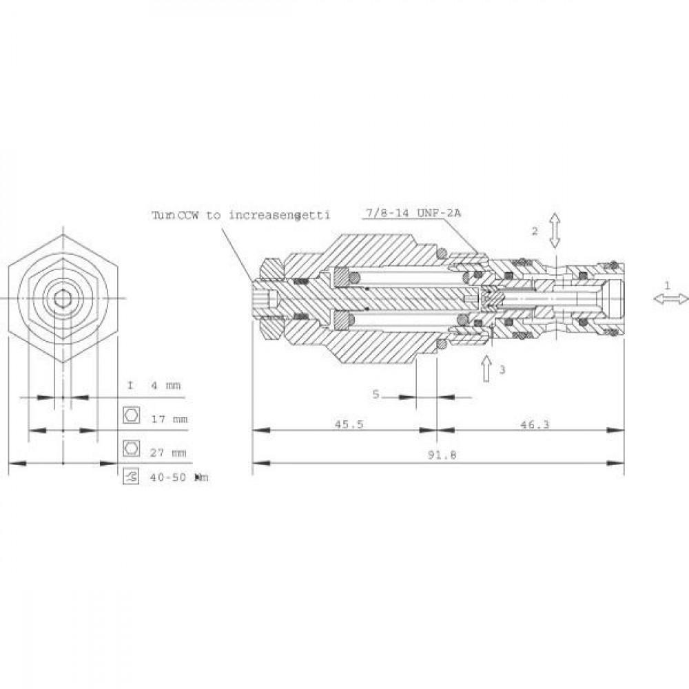 Comatrol Bal.patroon CP440-1-B-0-E-B-451 - CP4401B0EB451 | 92.2 mm | 52,3 mm | CP10-3L | 57 l/min | 1 bar | 25.4 mm | 69 241 bar | 47 54 Nm