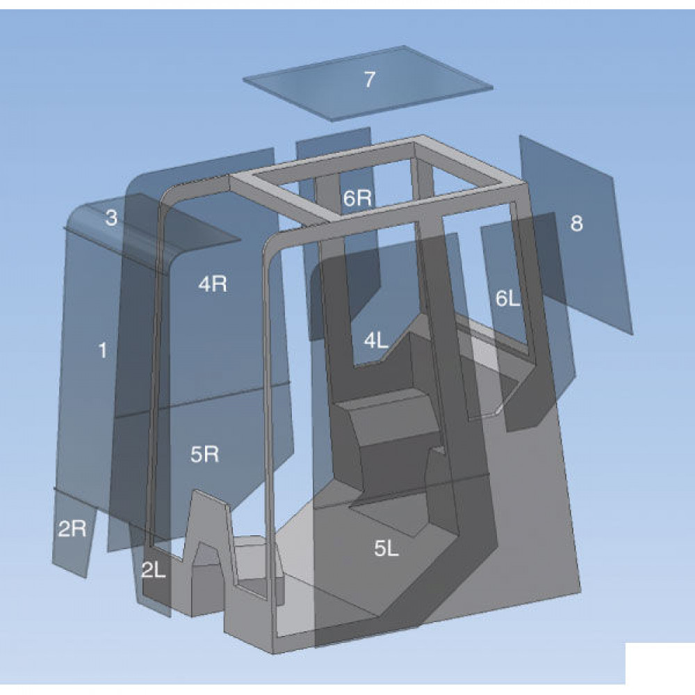 Schuifruit, van deur, achter - D10414   KHN2817   gehard   800 mm   450 mm