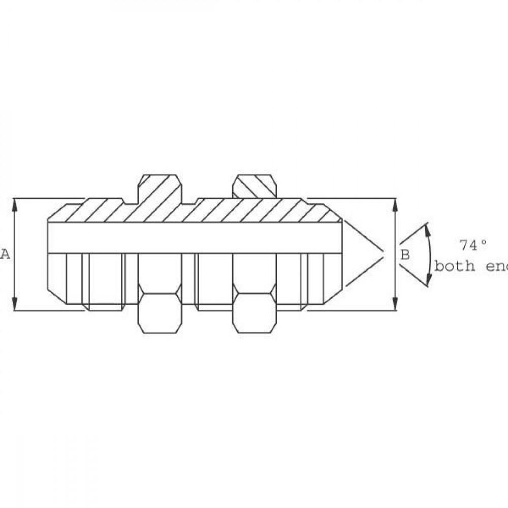 Schotnippel VNJS | JIC / JIC. | Staal. | D.m.v. 74° conus. | Vlgs. BS 1580. | Verzinkt