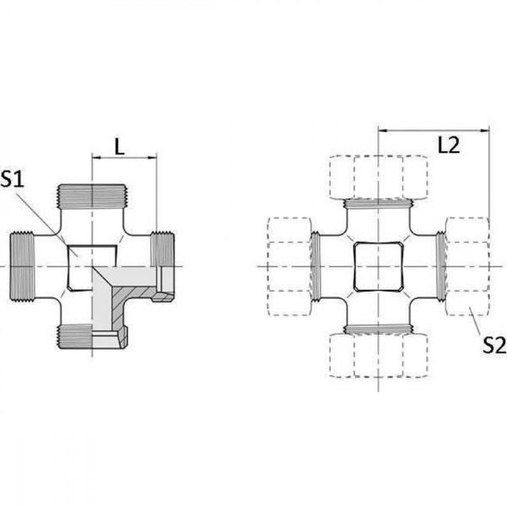 Voss Kruiskoppeling 22L - KV22L | 2S snijring | DIN 2353 | Zink / Nikkel | 27,5 mm | 160 bar | 22 mm