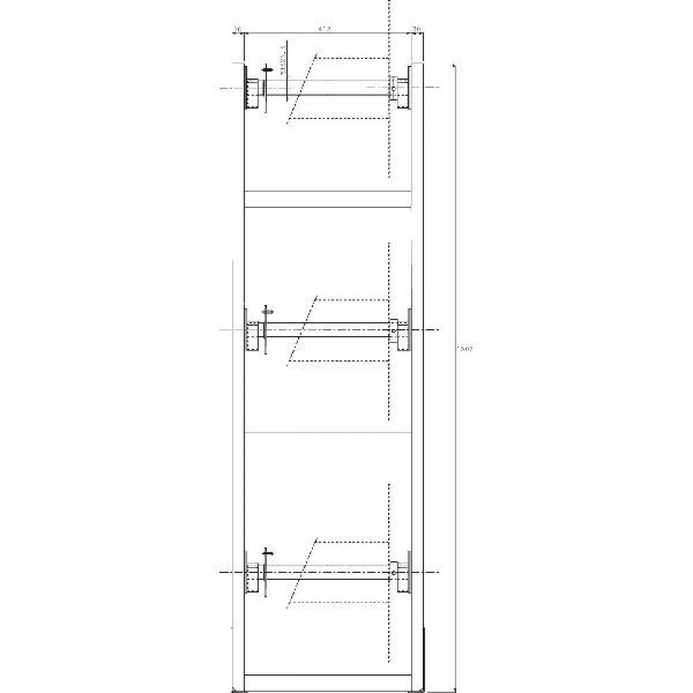 Frame tbv 3 slanghaspels - OBS003 | Eenvoudig in gebruik | 490 mm | 412 mm | 1505 mm
