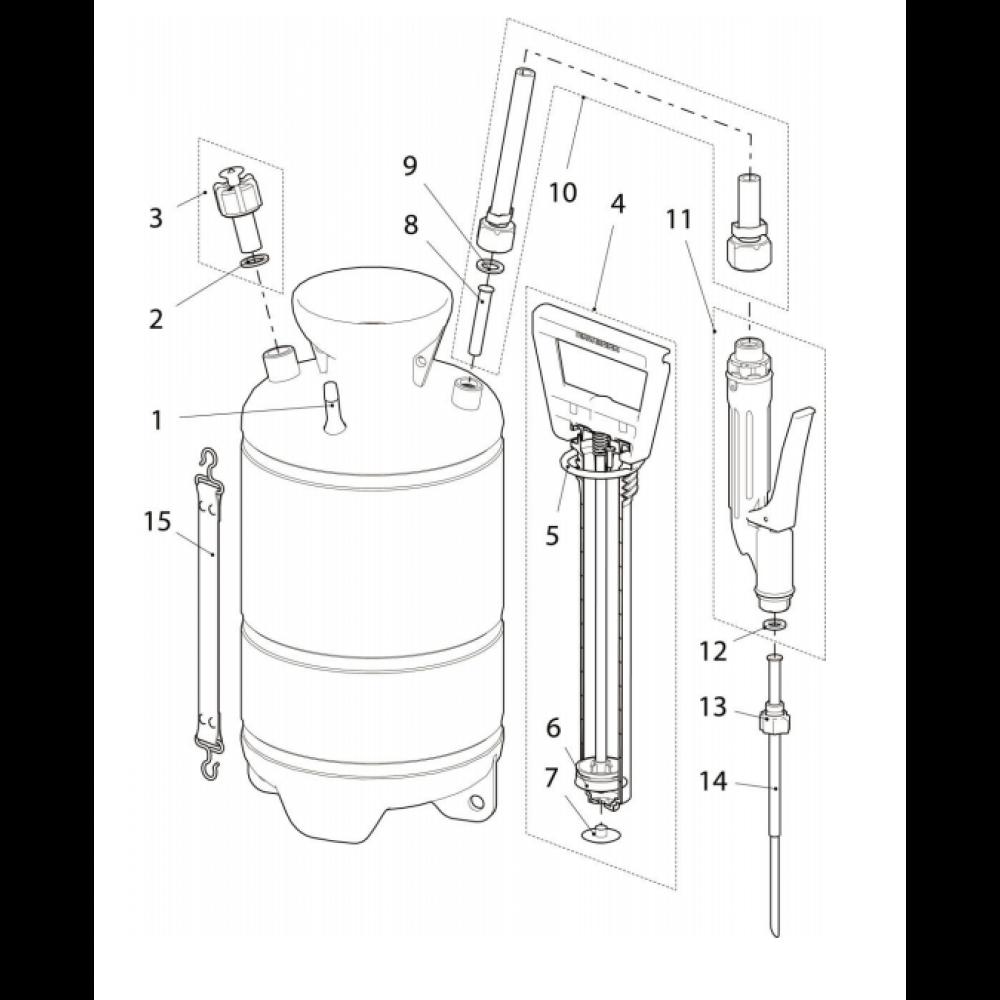 Birchmeier Professionele Poederverstuiver met een persluchtaansluiting. - 11625701BIR | 11625701 | 2,5 kg | 480 mm | 195 mm | 195 mm