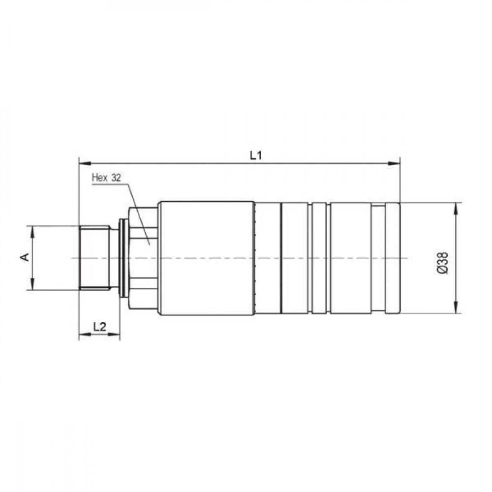 Voswinkel Koppelhuis M18x1.5-12L schot - UX101N1218L   UX10-1-N1218L   NBR / PTFE   Wit gepassiveerd   Faster 3CFPV...F   M18 x 1,5 A   38 mm   121.5 mm   ISO 7241-1-A   250 bar