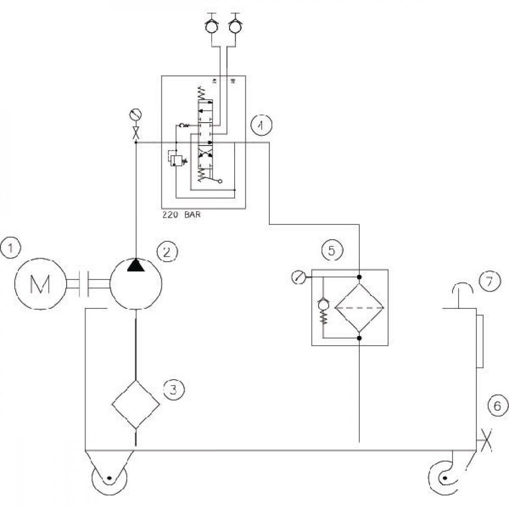 Werkplaatsaggregaat 35 ltr-9l/min-4kW/400V - WP85B001 | 35 l ltr. | 9 l/min | 220 bar | 400/690V 50Hz | 6 cc/omw | 4 kW | 520 x 470 x 800 mm