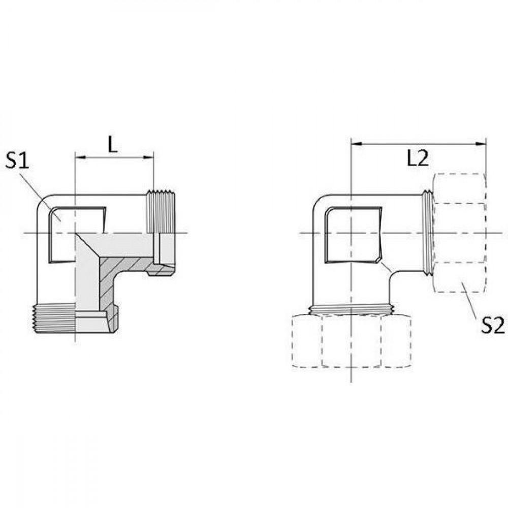 Voss Haakse koppeling 20S - WV20S | 2S snijring | DIN 2353 | Zink / Nikkel | 20 mm | 420 bar