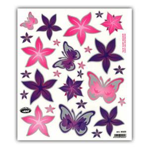 Stickerset Flowers & Butterflies voor fietsen | Afmeting 24 x 20 cm