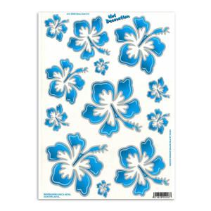 Hawaiian flowers blue large voor fietsen | Afmeting 34 x 24 cm