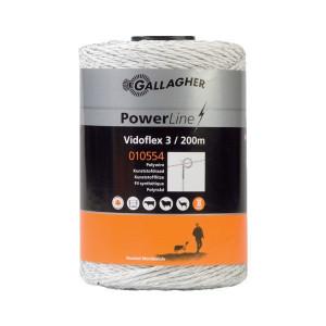 Gallagher Vidoflex 3 200m wit - 010554GAL | Uitstekende geleiding | 6 mm