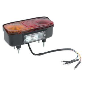 Cobo Achterlamp links - 0214600001   Opbouw   4 aanluiting   4 contacts   270 mm   210 mm   74,5 mm   rood / orange