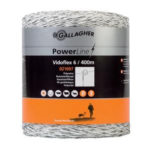 Gallagher Vidoflex 6 400m wit - 021697GAL | Uitstekende geleiding | 98 kg | 5,9 Ohm Ohm/m | 6 mm