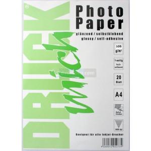 klevend fotopapier, A4, 105 gram, glanzend, 20 vellen (A4 stickervellen)