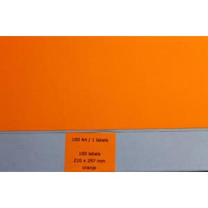 Huismerk etiketten, 1 stuk, 1 vel, 210x297mm, fluo oranje