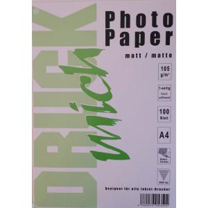Druckmich fotopapier, A4, 105 gram, mat 100 vel, enkel zijdig