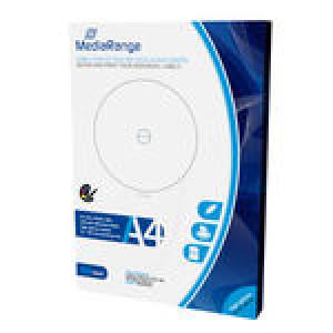 MediaRange etiketten voor CD/DVD/Blu-ray schijven, 50 vel / 100 labels, High-Glossy Coated