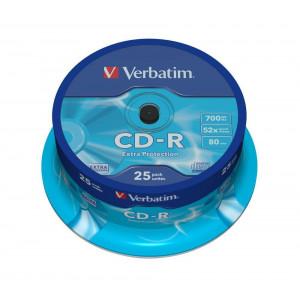 Verbatim CD-R schijven, 700 Mb / 80 minuten opslagruimte, snelheid 52x, 25 stuks, cakebox verpakking, zeer hoge kwaliteit!