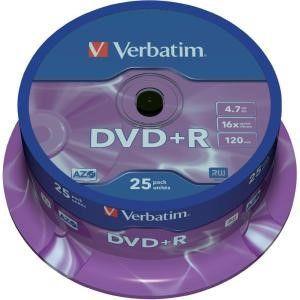 Verbatim DVD+R schijven, 4.7 Gb opslagruimte, snelheid 16x, 25 stuks, cakebox verpakking, zeer hoge kwaliteit!