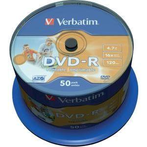 Verbatim DVD-R Printable schijven, 4.7GB opslagruimte, snelheid 16x, 50 stuks, cakebox verpakking, zeer hoge kwaliteit!