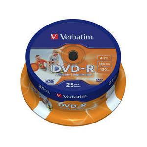 Verbatim DVD-R Printable schijven, 4.7GB opslagruimte, snelheid 16x, 25 stuks, cakebox verpakking, zeer hoge kwaliteit!