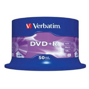 Verbatim DVD+R schijven, 4.7 Gb opslagruimte, snelheid 16x, 50 stuks, cakebox verpakking, zeer hoge kwaliteit!