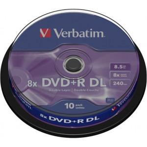 Verbatim DVD+R DL (Dual Layer) schijven, 8.5Gb opslagruimte, snelheid 8x, 10 stuks, cakebox verpakking, zeer hoge kwaliteit!